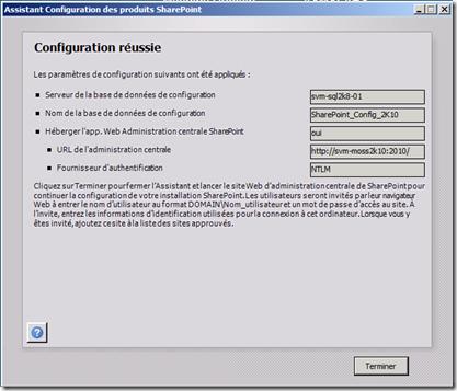 Assistant Configuration des produits SharePoint 6