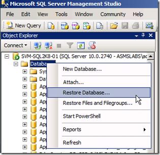 Restore Database SharePoint