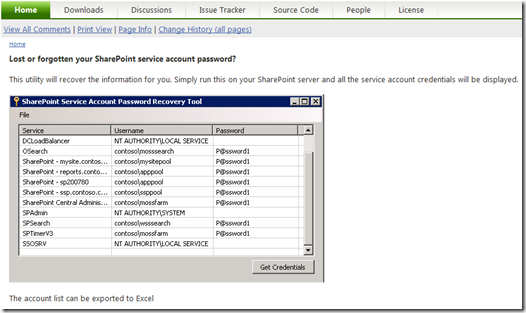 SharePoint Service Account Recovery Tool