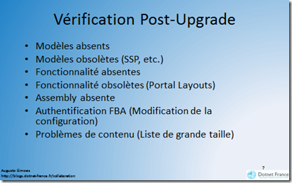 Vérification Post Upgrade