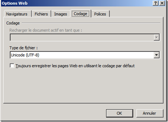 Word Codage UTF-8