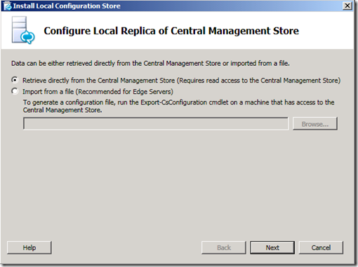 Configure local replica store