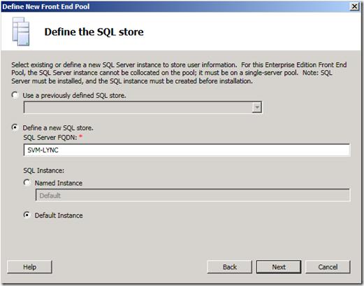 Define The SQL Store