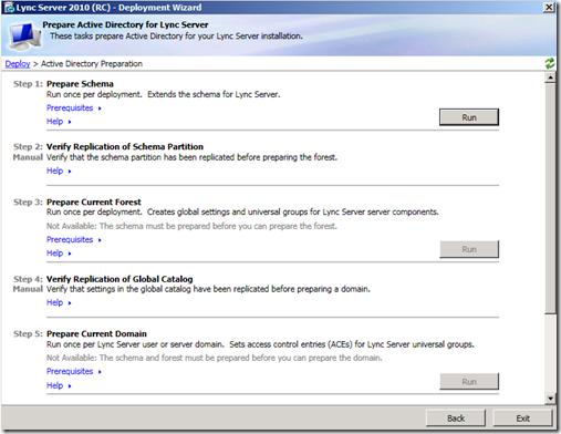 Lync 2010 Prepare Active Directory