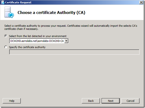 Lync Certificate CA