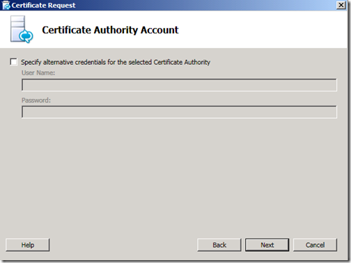 Lync Certificate CA Account