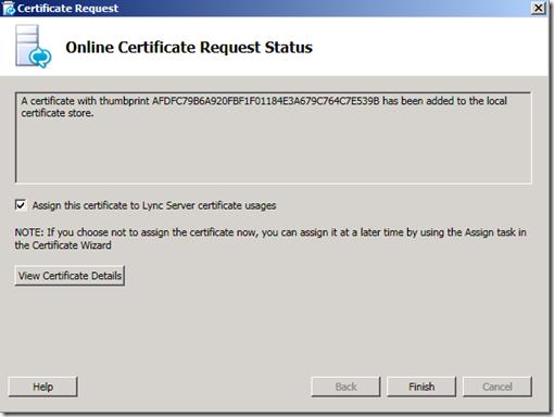Lync Certificate Request Status