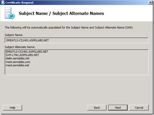 Lync Certificate SAN
