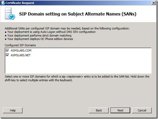 Lync Certificate SIP SAN