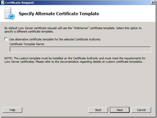 Lync Certificate template