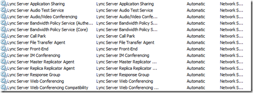 Lync Server New Services Installed