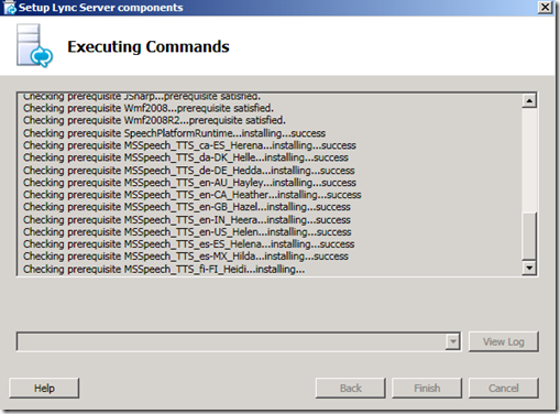 Lync Server Setup Executing Commands