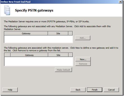 Specify PSTN Gateways