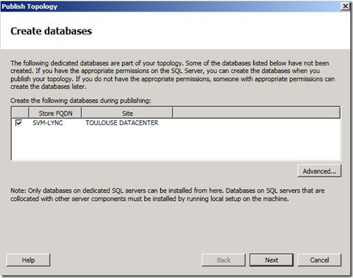 Topologie Builder Wizard Create Databases