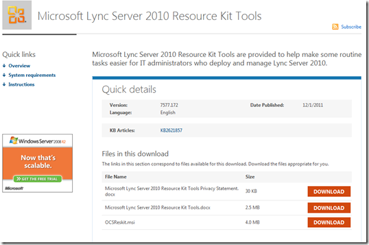 Lync Ressource Kit
